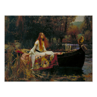Lady of Shalott in Her Boat Poster