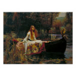 Lady of Shalott with Flowing Hair Poster