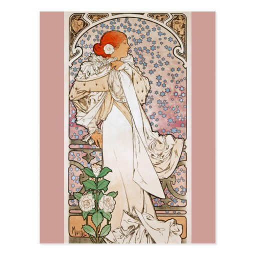 Lady of the Camellias by Alphonse Mucha Post Card