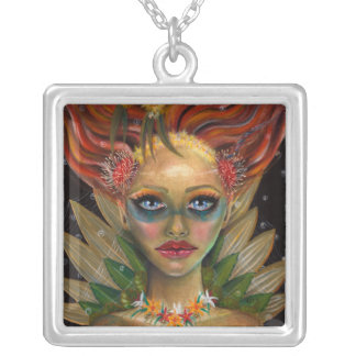 Lady of the Forest Square Pendant Necklace