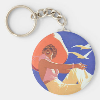 Lady On a Cruise Basic Round Button Key Ring