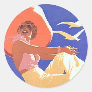 Lady On a Cruise Round Sticker