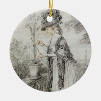 Lady on a Terrace Tending a Carnation Plant (black Christmas Ornament