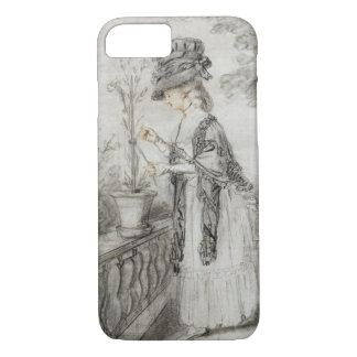 Lady on a Terrace Tending a Carnation Plant (black iPhone 8/7 Case