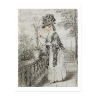 Lady on a Terrace Tending a Carnation Plant (black Postcard