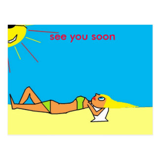 lady on beech, see you soon postcard