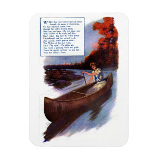 Lady Paddling Canoe Down Waterway Rectangle Magnet