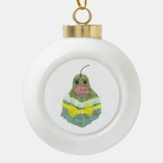 Lady Pear Bauble Ceramic Ball Christmas Ornament
