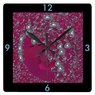 Lady Pearl Wall Clock -Home- Fuschia/Blue/Black