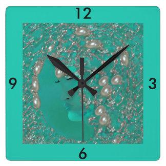 Lady Pearl Wall Clock -Home- Pearl/Aqua Blue