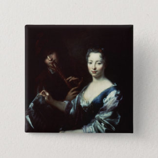 Lady playing a spinet and a flautist 15 cm square badge