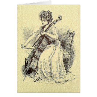 Lady Playing Cello Card