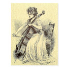 Lady Playing Cello Postcard