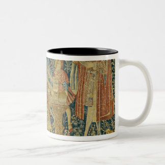 Lady playing the portative organ from Two-Tone coffee mug