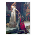 Lady queen knighting knight antique painting