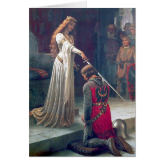 Lady queen knighting knight antique painting card