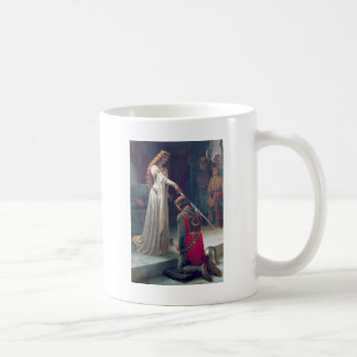 Lady queen knighting knight antique painting coffee mug