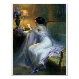 Lady reading a letter antique fine art poster