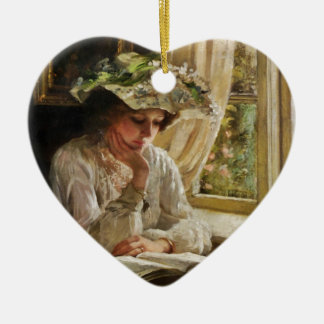 Lady Reading by a Window Ceramic Heart Decoration