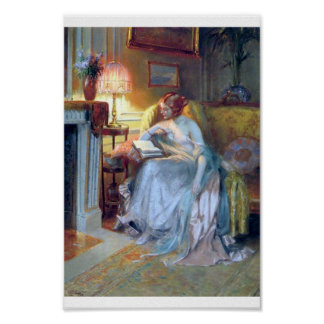 Lady reading by the lamp. poster