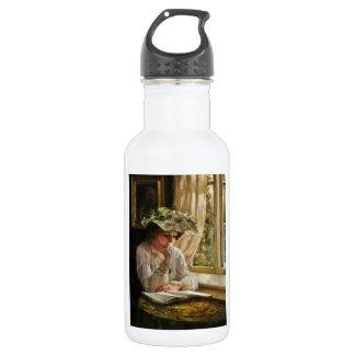 Lady Reading by Window 532 Ml Water Bottle