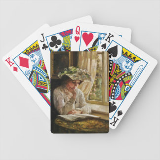 Lady Reading by Window Bicycle Poker Cards