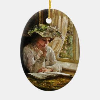 Lady Reading by Window Ceramic Oval Decoration