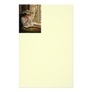 Lady Reading by Window Custom Stationery
