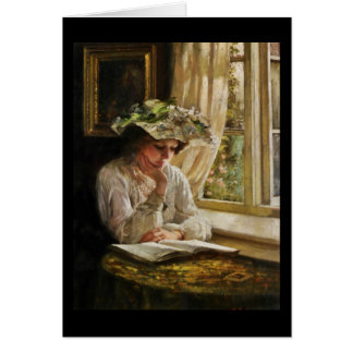 Lady Reading by Window Greeting Card