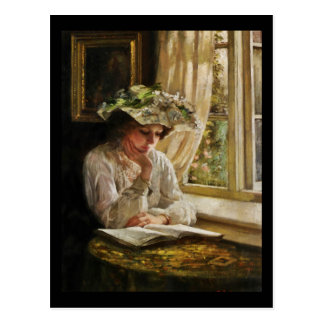 Lady Reading by Window Postcard