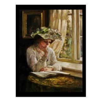 Lady Reading by Window Postcard