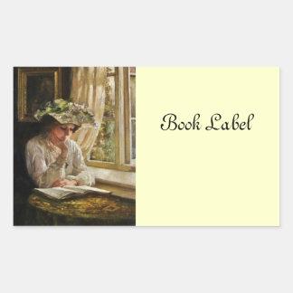 Lady Reading by Window Rectangular Sticker