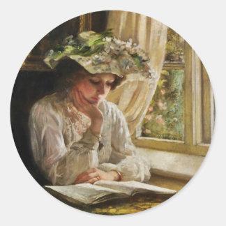 Lady Reading by Window Round Sticker