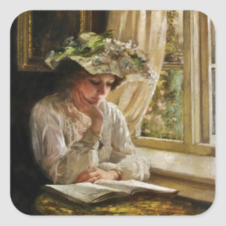 Lady Reading by Window Square Sticker