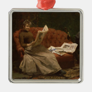 Lady Reading Christmas Ornament