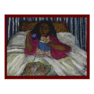 Lady reading in bed with cat and coffee - maroon postcard