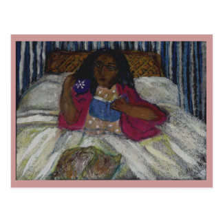 Lady reading in bed with cat and coffee - pinkish postcard