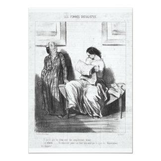 Lady Reading Newspaper 13 Cm X 18 Cm Invitation Card
