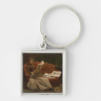 Lady Reading Silver-Colored Square Key Ring