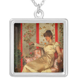 Lady Reading Silver Plated Necklace