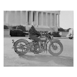 Lady Riding Motorcycle, 1937. Vintage Photo Poster