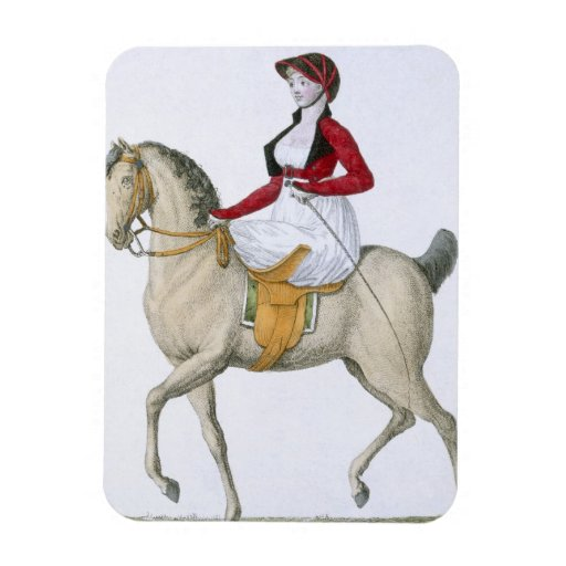 Lady riding sidesaddle, from 'Costumes Parisien', Rectangle Magnet