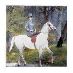 Lady Riding White Horse Painting Ceramic Tile