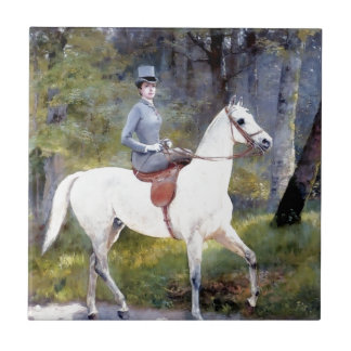 Lady Riding White Horse Painting Tile