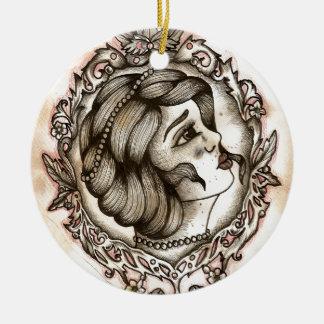 Lady Round Ceramic Decoration