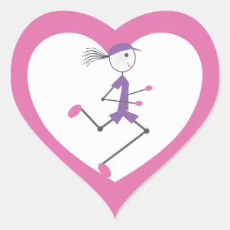 Lady Runner Pink Heart Heart Sticker
