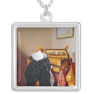 Lady seated by a Virginal Silver Plated Necklace