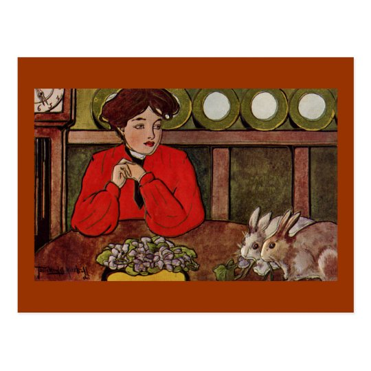 Lady Sees Bunnies Eating Violets Postcard