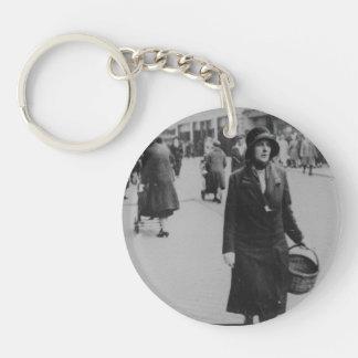 Lady Shopping Black & White Acrylic Round Keychain
