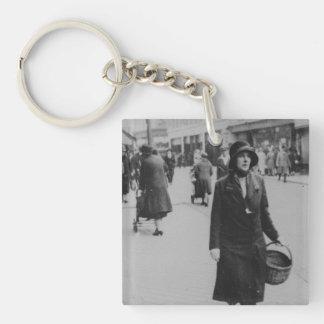 Lady Shopping Black White Acrylic Square Keychain